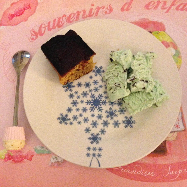 cake chocolate blanc pommes et glace