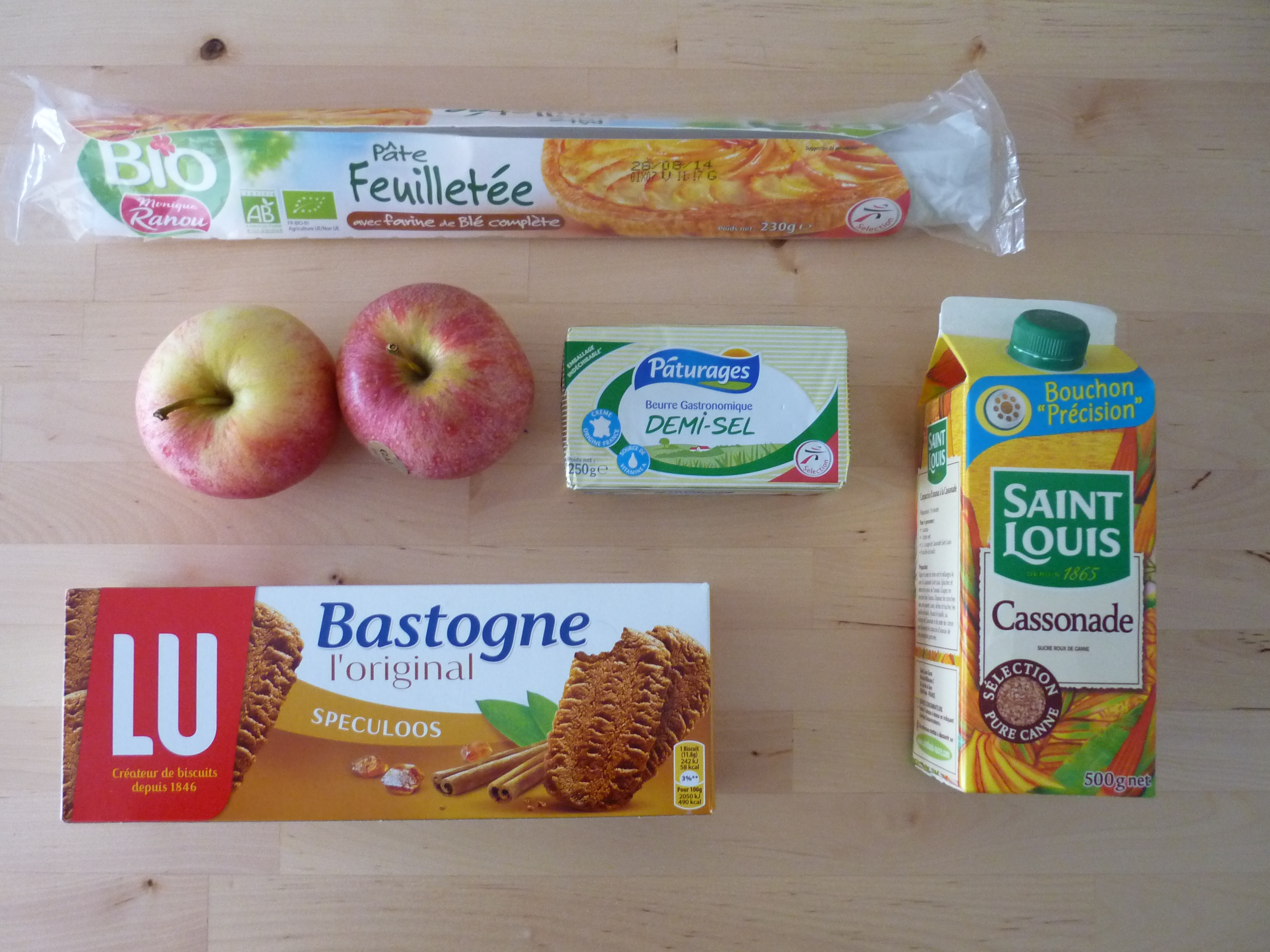 Ingrédients tarte pommes caramélisées/spéculoos