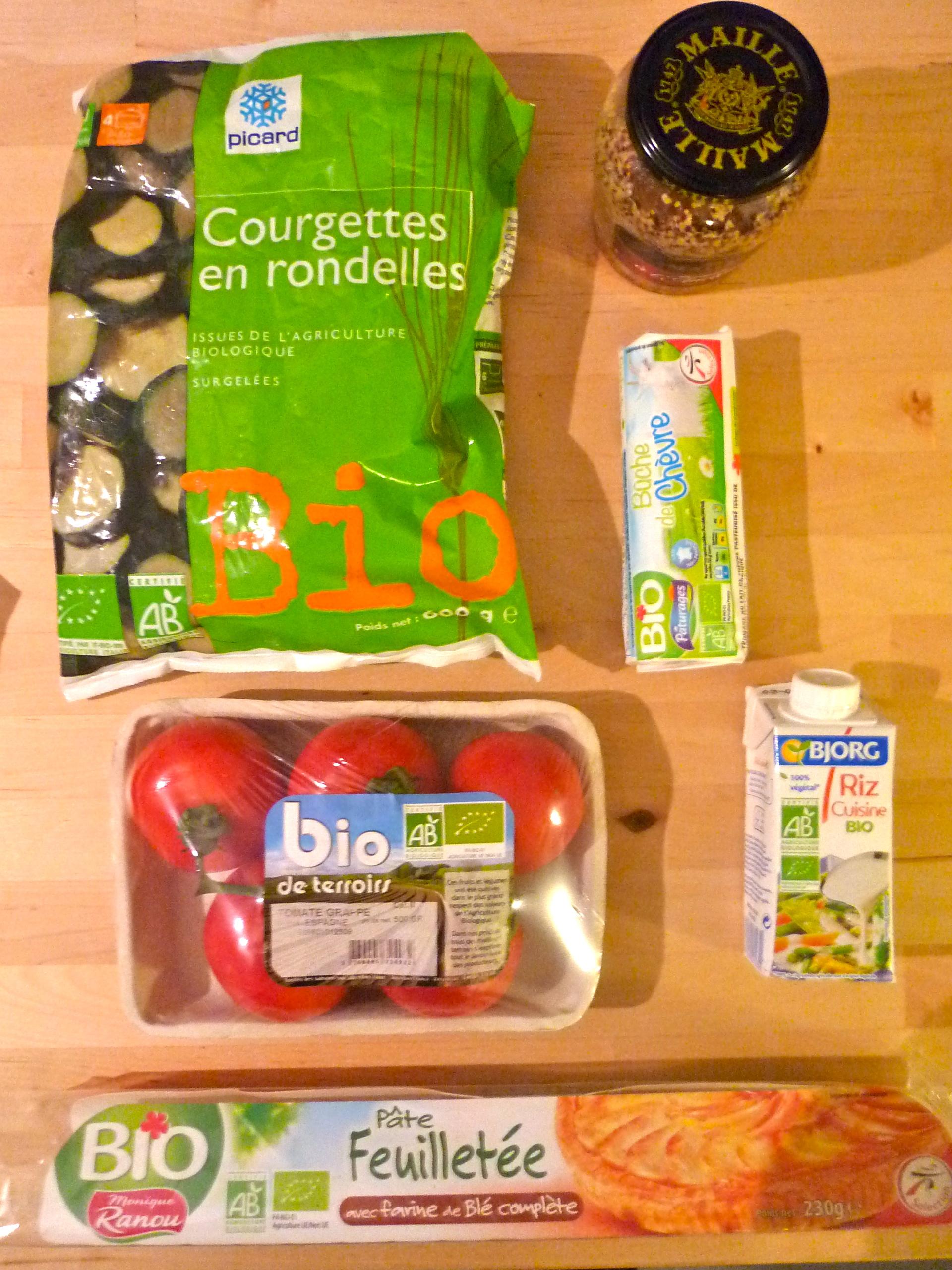 Ingrédients tarte tomate/courgette/chèvre