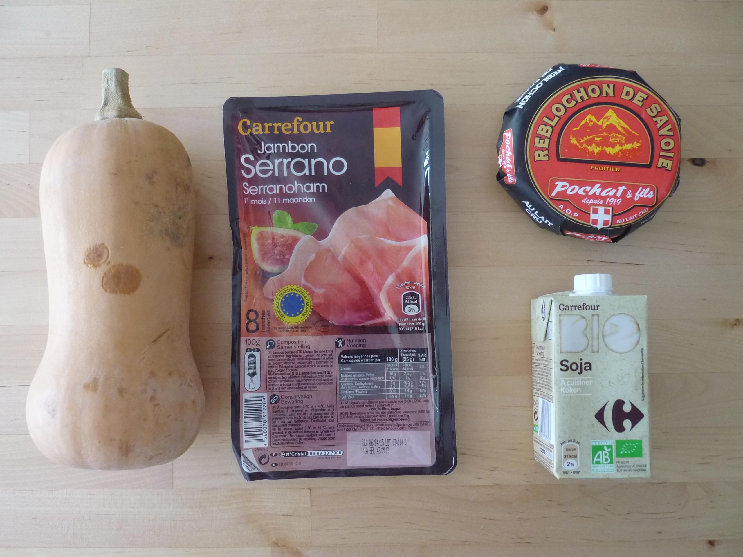 Ingrédients gratin de butternut