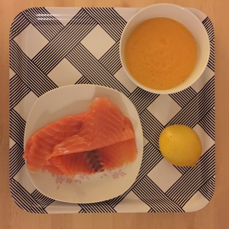 Saumon et velouté de potiron
