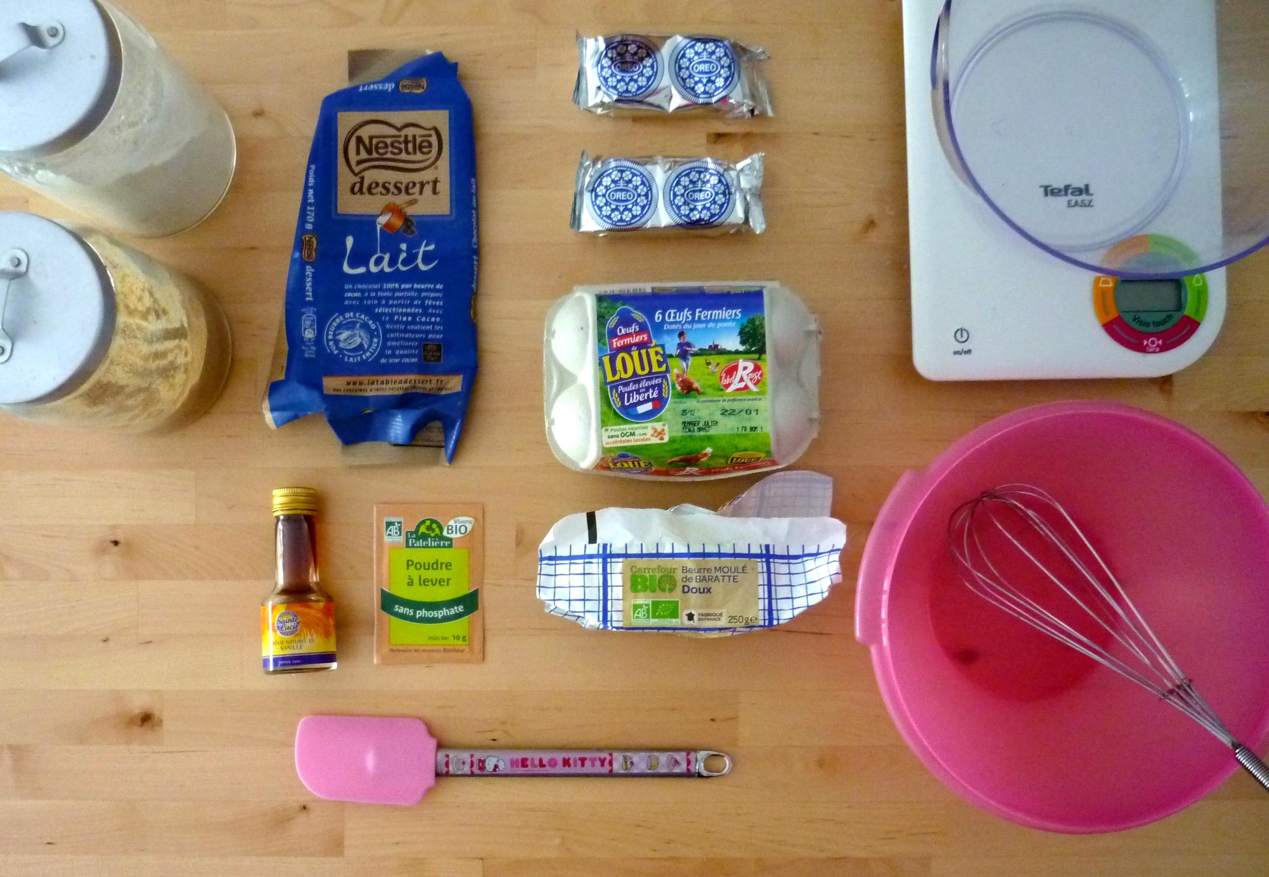 Ingrédients biscuits chocolat et Oréo