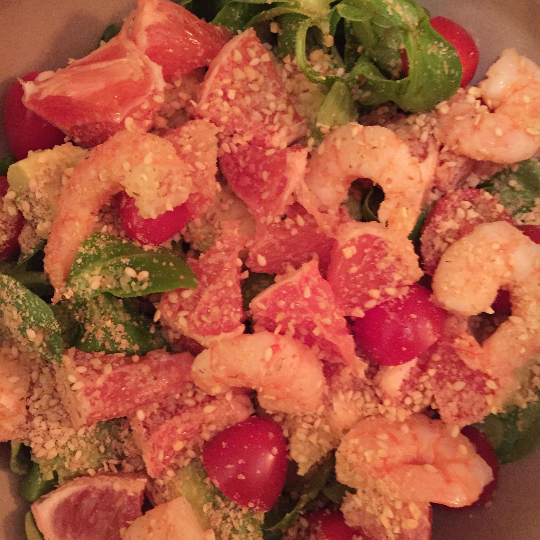Salade pamplemousse avocat crevettes