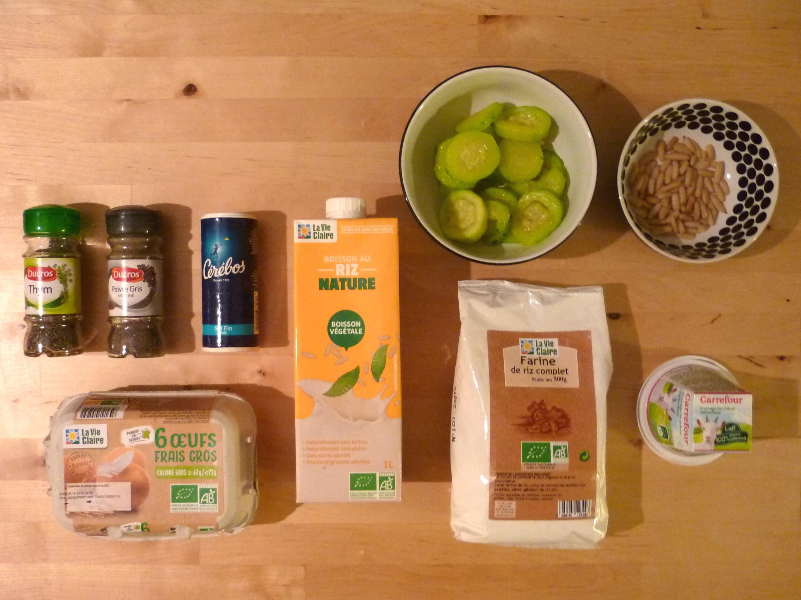 Ingrédients clafoutis chèvre courgette