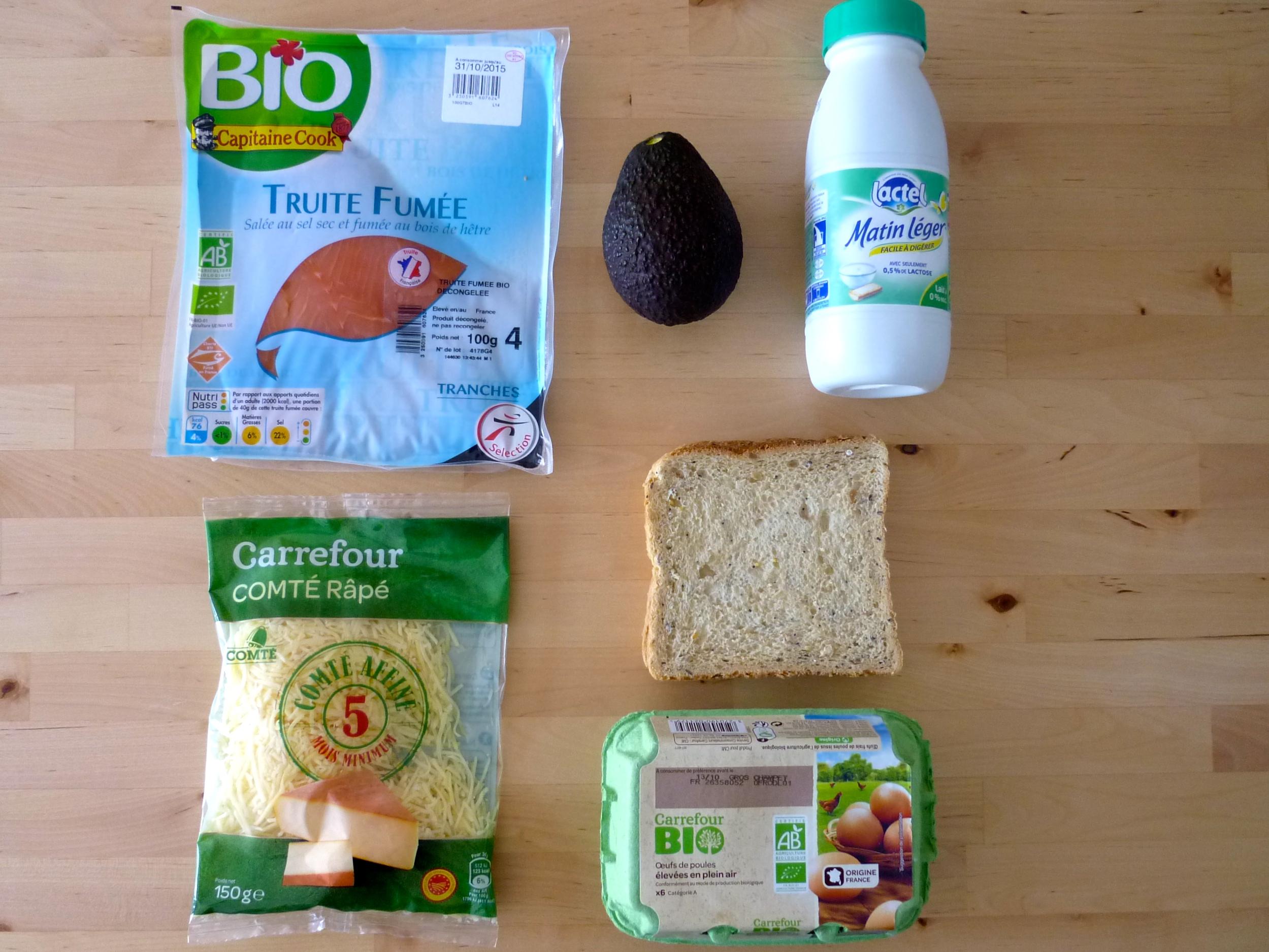 Ingrédients croque saumon avocat comté façin pain perdu