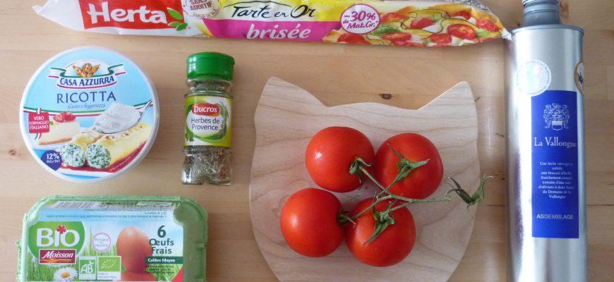 Ingrédients tarte tomates ricotta